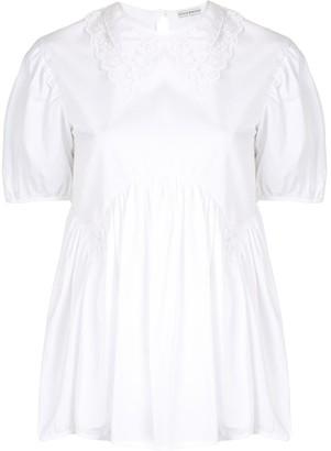 Cecilie Bahnsen Lace-Trim Short-Sleeved Blouse