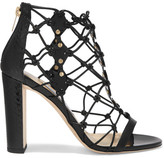Jimmy Choo Tickle Studded Leather And Elaphe Sandals - Black