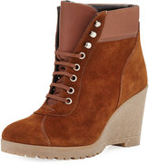 Amalfi by Rangoni Donald Mixed Leather Wedge Bootie, Brown