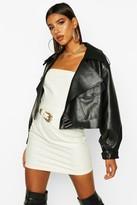 boohoo Oversized Crop Biker Faux Leather Jacket