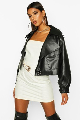 boohoo Oversized Crop Biker Faux Leather Jacket