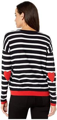 Elliott Lauren Open Heart Stripe Crew Neck Sweater with Heart Elbow Patch (Black/White) Women's Clothing