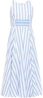 Gül Hürgel Flared Striped Cotton And Linen-blend Midi Dress