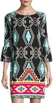Julie Brown Elle Trumpet-Sleeve Ikat-Print Dress, Black