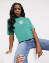 adidas Orignals premium trefoil cropped t-shirt in green