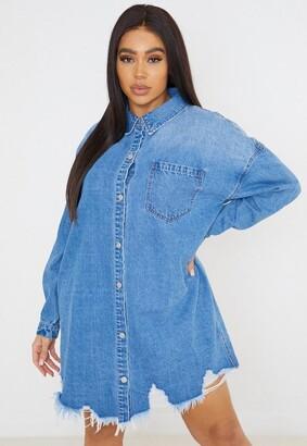 Missguided Size Blue Oversized Denim Shirt Dress