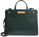 Saint Laurent Small Manhattan Croc Embossed Calfskin Satchel