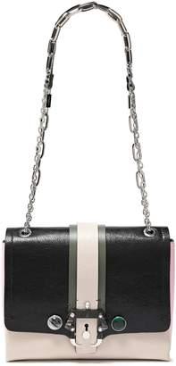 Paula Cademartori Embellished Color-block Cracked-leather Shoulder Bag