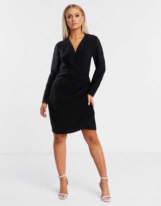 ASOS DESIGN long sleeve pleat front wrap mini dress in black