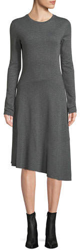 Vince Long-Sleeve Asymmetric Midi Dress