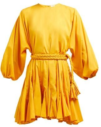 Rhode Resort Ella Tie Waist Cotton Voile Mini Dress - Womens - Yellow