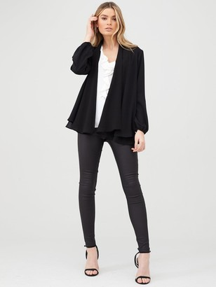 Wallis Blouson Sleeve Chiffon Jacket - Black