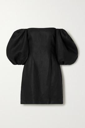 Rebecca De Ravenel First Impressions Off-the-shoulder Linen Mini Dress - Black