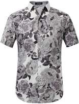 SSLR Men's Flower Casual Button Down Short Sleeve Shirt (, White (168-60))