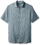 Perry Ellis Men's Big and Tall Multi Check Linen Pattern Shirt