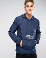 Tommy Hilfiger Denim Overhead Anorak Logo Front Pocket In Navy