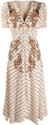 Saloni Floral-Print Buttoned Dress