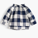 J.Crew Girls' buffalo plaid ruffle-neck top