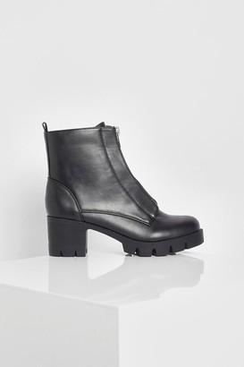 boohoo Wide Fit Zip Front Chunky Chelsea Boot