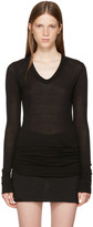 Rick Owens Black Long Sleeve V-Neck T-Shirt