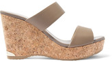 Jimmy Choo Parker Textured-leather Wedge Sandals - Taupe