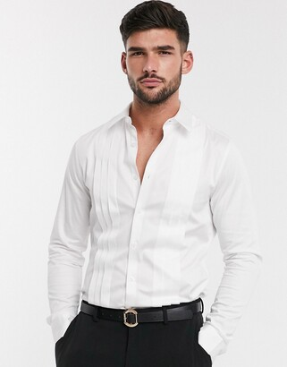 ASOS DESIGN slim fit sateen shirt with pleat detail in white