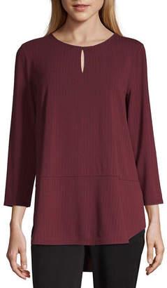 Liz Claiborne Studio Womens Keyhole Neck 3/4 Sleeve Knit Blouse