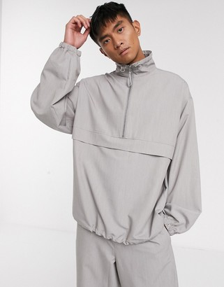 ASOS co-ord woven tracksuit top in grey