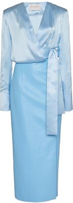 MATÉRIEL Silk And Faux Leather Midi Wrap Dress