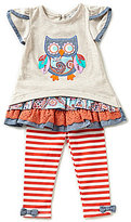 Rare Editions Baby Girls 3-24 Months Owl-Applique Top & Striped Leggings Set