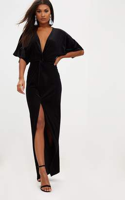 PrettyLittleThing Black Velvet Kimono Sleeve Maxi Dress