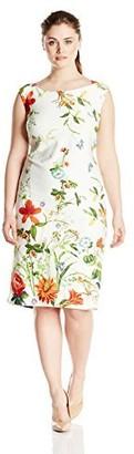 Gabby Skye Women's Plus-Size Floral Midi Dress