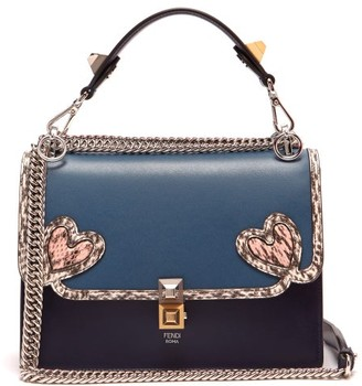 Fendi Kan I Heart-detail Leather Shoulder Bag - Womens - Blue Multi