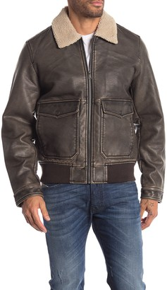 Lucky Brand Faux Leather Faux Fur Collar Jacket