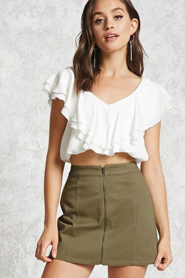 Forever 21 Zip-Front Denim Mini Skirt