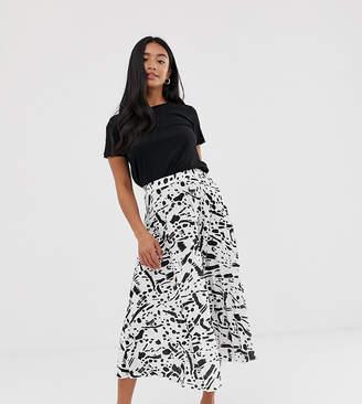 Asos DESIGN Petite pleated midi skirt in mono abstract print