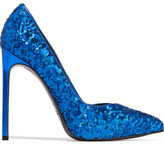 Saint Laurent Sequined Textured-leather Pumps - Bright blue