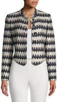St. John Tweed-Knit Mandarin-Neck Jacket