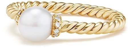 David Yurman Solari Station Ring with Cultured Freshwater Pearl & Diamonds in 18K Gold