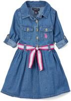 U.S. Polo Assn. Denim Shirt Dress & Stripe Belt - Toddler & Girls