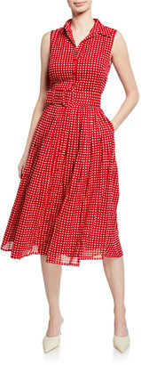 Samantha Sung Audrey Gingham Pleated Midi Dress w/ Belt