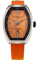 Montres de Luxe Women's EXL A 8302 Estremo Lady Stainless Steel Orange Sunray Dial Luminous Leather Date Watch