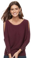 JLO by Jennifer Lopez Women's Striped Dolman Cold-Shoulder Sweater