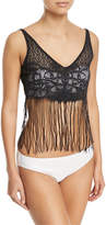 Luli Fama Flirty Fringe Tank Top, Black