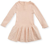 Chloé Long-Sleeve Knitted Sequin Dress, Size 12-18 Months