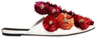Sanayi 313 10mm Flora Raffia Flowers Canvas Mules