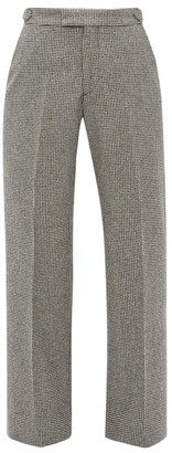 Officine Generale Celeste Houndstooth-check Wool Trousers - Black White