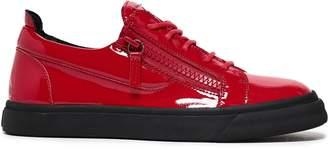 Giuseppe Zanotti Vernice Zip-detailed Patent-leather Sneakers