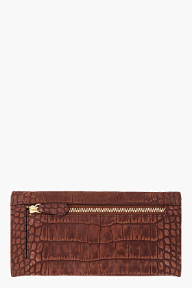 Givenchy Long Brown Croc Embossed Wallet