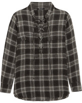 Madewell Terrace Lace-up Plaid Flannel Shirt - Anthracite
